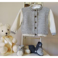This very simple little sweater has a two tone band to add that special touch. The cute little boots look just like runners. Very easy to knit up and comes with detailed images showing how to make up the boots. Mix and match colours, or make the sweater and boots in one colour, suitable for a little boy or girl.Material quantity is for the two tone sweater, using both colours specified.Total amounts are for the full set, ie. cardigan and boots.