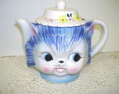ADORABLE ANTIQUE BLUE AND WHITE CAT WITH HAT PITCHER MADE IN JAPAN