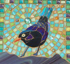 Blackbird II Mosaic Card Mosaic Art by LAMosaicGifts on Etsy