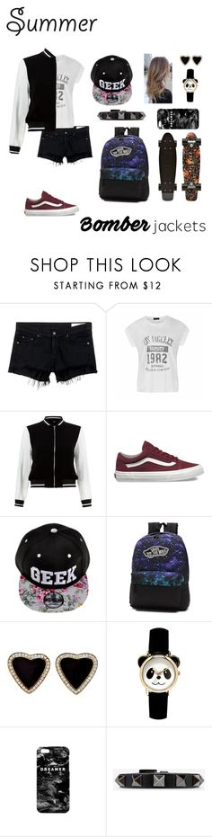 """contest entry: summer bomber jackets"" by rainbow-spirit-teahouse ❤ liked on Polyvore featuring rag & bone/JEAN, Ally Fashion, New Look, Vans, Mr. Gugu & Miss Go, Valentino and bomberjackets"