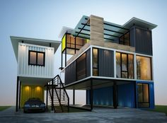 Container House - Container house - Bankok - Ramintra - Who Else Wants Simple Step-By-Step Plans To Design And Build A Container Home From Scratch? Cargo Container Homes, Shipping Container Home Designs, Building A Container Home, Storage Container Homes, Container Buildings, Container Architecture, Container House Design, Shipping Containers, Container Cabin