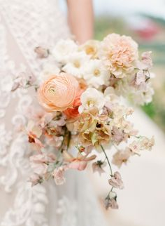 Proof That a Wedding Exit by Boat Is Sea-Riously Worth It Neutral Wedding Flowers, Spring Wedding Flowers, Bridal Flowers, Floral Wedding, Whimsical Wedding Flowers, Wedding Summer, Dream Wedding, Wedding Flower Arrangements, Floral Arrangements