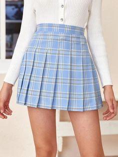 Girls Zipper Side Tartan Pleated Skirt – Kidenhouse Tartan Pleated Skirt, Blue Plaid Skirt, Pleated Skirt Outfit, Plaid Skirts, Pleated Tennis Skirt, Teen Skirts, Cute Skirts, Blue Skirt Outfits, Skirt Fashion
