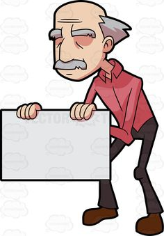 A grandpa holding a white board #cartoon #clipart #vector #vectortoons #stockimage #stockart #art