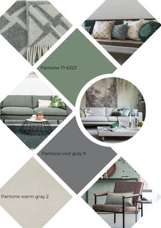 Pantone, Green Colors, Colours, Home And Living, Living Room, Warm Grey, Shades Of Green, Wall Design, Mood Boards