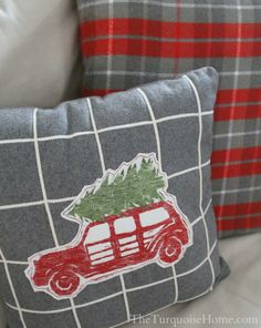 grey grid and red plaid patterns for pillows on couch
