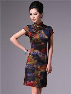 Women's Polyester Knee-length Vogue Cheongsam Dress