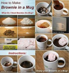 How to make a brownie in a mug!    INGREDIENTS:  1/4 cup sugar  1/4 cup flour  2tbsp cocoa  pinch of salt  2 tbsp olive oil  3 tbsp water    DIRECTIONS:  Mix all ingredients in mug until smooth    Microwave 1 min 40 secs    Ice cream or other toppings optional
