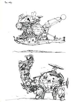 kow yokoyama is another master model maker and concept designer that gives me so much inspirations. I really like those unique, soft, organic, shapes from his works, its fun to introduce his concept into my works. Spaceship Art, Spaceship Design, Spaceship Concept, Robot Concept Art, Environment Concept Art, Character Art, Character Design, Ghost In The Machine, Sketch Design