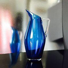 """VINTAGE WHITEFRIARS 9"""" CASED BLUE ART GLASS JUG Restored"""