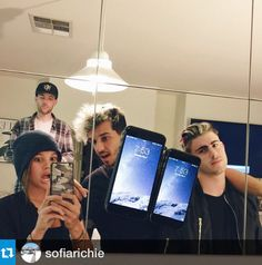 Celebrities with their exofab™ phone case. Sofia Richie taking a selfie with her exofab phone case.