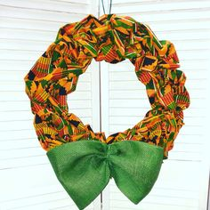 African Wreath – Choose Black /White Mudcloth Print, Traditional Kente, Green Kente or Red Green Black History Month, Everyday African African Christmas, Black Christmas, Thanksgiving Wreaths, Fall Wreaths, Door Wreaths, African Party Theme, Style Africain, African Crafts, Kente Cloth