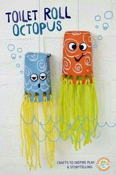 Octopus gemaakt vn wc rolletje. Ook van plastiek bekertje te maken.