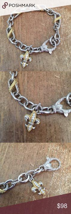 "Judith Ripka.14K yellow sterling silver, sterling Judith Ripka.14K yellow sterling silver, sterling  Measures approximately  7-1/2""L x 1/4"" Judith Ripka Jewelry Bracelets"