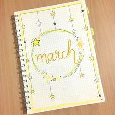 ✨ March ✨ . . . . . . #bulletjournal #bujo #themes #bulletjournaladdict #starstheme #bulletjournalsetup #coverpage #bujoideas #bujolove #march #stars #yellow #love #pretty #drawing #art #creative #inspire #calendar #organisation #layout #handwriting #bulletjournaling #bulletjournallove #planner #planning #journal #bujoideas #bujoinspire #bujo2018 #bujobythao