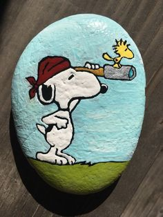 HAND PAINTED ROCK ART SNOOPY AND WOODSTOCK PIRATE | eBay