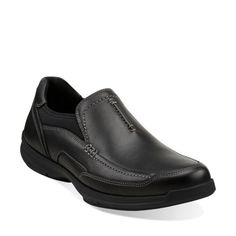Wave.Vortex Black Leather - Mens Loafers and Slip On Shoes - Clarks