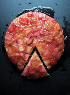 Rhubarb upside-down cake from Saveur Magazine, April 2013