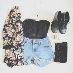 Denim shorts with top black blouse and floral cardigan and black long boots and black leather clutch the best summer outfits