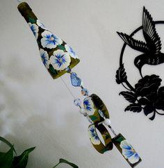 Wine bottle windchime, Dark Amber wind chime, White and Blue flowers, yard art, patio decor, recycled bottle wind chime, hand painted chime by LindasYardArt on Etsy
