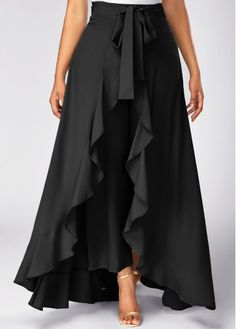 Tie Waist Side Zipper Ruffle Palazzo Pants (in black & gray) Skirt Pants, Dress Skirt, Dress Up, Ruffle Pants, Ruffle Skirt, Skirt Pleated, Chiffon Skirt, Denim Pants, Chiffon Fabric