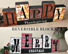 Reversible Holiday Blocks Give Thanks by TimelessNotion on Etsy