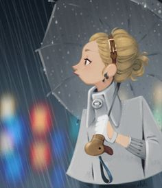 Beautiful illustration of woman in rain. Just love the colors on this one, and the composition. The subtle colors in the background are the ones which brings out the illustration.   #rain #beautiful #illustration