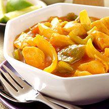 WeightWatchers.be - Weight Watchers Recepten - Stoofpotje van kip met curry en perziken