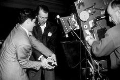 James Stewart in Rope | @ShotOnSet! ~ Great look at the behind the scenes on Rope, directed by Alfred Hitchcock. James Stewart & Farley Granger struggle for the gun. It is amazing the size of the Technicolor Three Strip Camera.