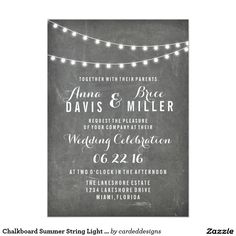 Chalkboard Summer String Light Wedding Invites #chalkboard #summer #string #light #wedding #invites#summerwedding #hawaiianwedding
