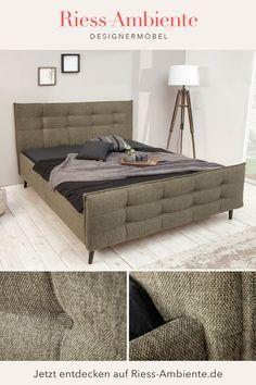 Bei der individuellen Gestaltung Deines Zuhauses solltest Du auch beim Schlafzimmer keine Kompromisse eingehen müssen. Da kommt unser Polsterbett SEATTLE genau richtig, denn hier erhältst Du ein echtes Designbett mit einem Look, der perfekt in Dein Schlafzimmer passt. Kopf- und Fußteil sind mit einer markanten Ziersteppung überzogen und das dunkle Grün des Webstoffs in Zusammenspiel mit den schwarzen Füßen strahlt einen tollen Retrolook aus. Retro Look, Sideboard, Seattle, Design, Environment, Bedroom, Ad Home, Nice Asses