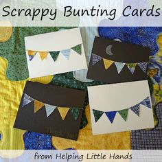 Bunting cards made from fabric scraps