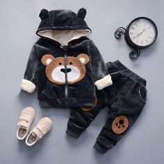 Baby Girl Teddy Bear Clothing Set [3M-4T] 34.99 CAD Girls Fall Outfits, Toddler Girl Outfits, Baby Items Must Have, Toddler Girl Fall, Winter Newborn, Sweats Outfit, Girl Sweat, Cartoon Outfits, Kids Suits