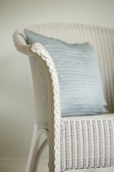Chair in Farrow & Ball's Lime White. I have three Lloyd loom chairs to paint for the summerhouse
