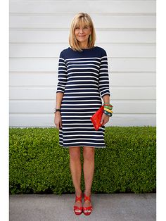 """So the 56-year-old (a shoe and handbag buyer for Dallas department store Stanley Korshak) decided to punch it up with colorful accessories. """"The navy on its own would be too drab for a date,"""" she explains. Her armful of bold bangles tied the red sandals and clutch in with the green earrings, for a look that's coordinated but not matchy-matchy. Striped Knit, Striped Dress, Work Fashion, Fashion Beauty, Stylish Outfits, Cute Outfits, Red Sandals, Red Shoes, Pretty Dresses"""