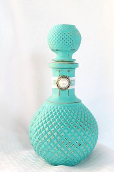Shabby Cottage Chic Bottles  Hand painted  teal or  coral  peach, Custom colors welcomed 6 in stock on Etsy, $15.00