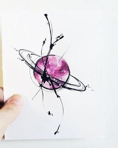 "Art Tattoo Original Sheet in ink and watercolor "" Saturno en Caos """