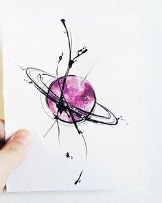 "Art Tattoo Original Sheet in ink and watercolor "" Saturno en Caos """