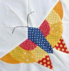 Alice Brooks Butterfly Quilt Block Tutorial Making this block is challenging, but worth it. Paper Piecing Patterns, Quilt Block Patterns, Pattern Blocks, Quilting Tutorials, Quilting Projects, Quilting Designs, Butterfly Quilt Pattern, Modern Quilt Blocks, Animal Quilts