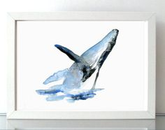 Dancing Whale Watercolor Fine Art Giclee Print/ Animal