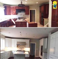 Before and after shot of a kitchen renovation! New tiles, paint, and appliances brightened up the entire space. ⚒ #ColorMyWorldInc #DreamHome #Renovation #Contractor #NY #NJ #CT