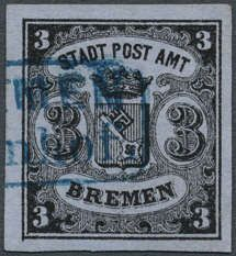"""Old German States Bremen, Michel 1 x III. 1855: 3 (Gr. ) black / blue-grey, vertical laid paper, type III, very piece in outstanding quality with enormous margins, enormously color depth, rare blue rectangle cancel with two lines """"BREMEN railway station"""" (Hanoverian post office), photo expertize inhabitant / native of Bremen card catalog (1927)"""