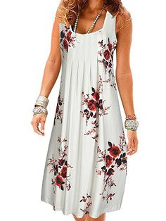 Round Neck Floral Printed Shift Dress Women Clothes For Cheap, Collections, Styles Perfectly Fit You, Never Miss It! Stylish Dresses, Women's Fashion Dresses, Cute Dresses, Summer Dresses, Shift Dresses, Casual Dresses, Cheap Dresses Online, Dress Silhouette, Buy Dress