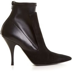 Givenchy Kalli suede and leather high-heel ankle boots (7.342.895 IDR) ❤ liked on Polyvore featuring shoes, boots, ankle booties, givenchy, black, high heel ankle boots, black suede ankle booties, black high heel boots, black pointed toe booties and black stiletto booties