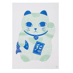 Neon Lucky Cat Print