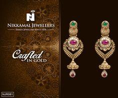 Gold danglers at Nikkamal Jewellers Ludhiana & Jalandhar Showrooms.