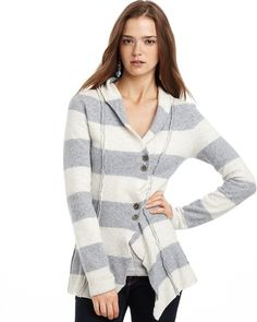 RARE Free People Stripe Up Seamed Contour Wool Cardigan Sweater