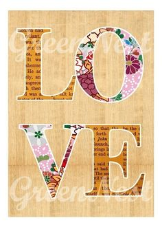 NEW A3 Size  Love and Flowers collage poster print by GreenNest, $25.00