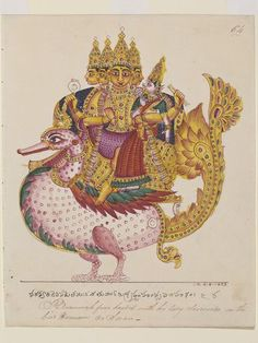 Brahma on hamsa vahana Painting. Opaque watercolour on paper. © Victoria and Albert Museum, London Mughal Paintings, Tanjore Painting, Indian Paintings, Mysore Painting, Indian Art Gallery, Indian Folk Art, Indian Patterns, Hindu Deities, Hindu Art