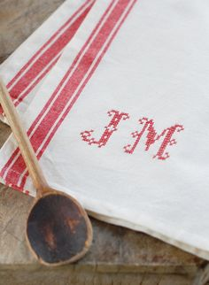 NEW DESIGN - Monogrammed French Red Stripe Kitchen Towel with Personalized Hand Stitched Initials. 21.00, via Etsy.
